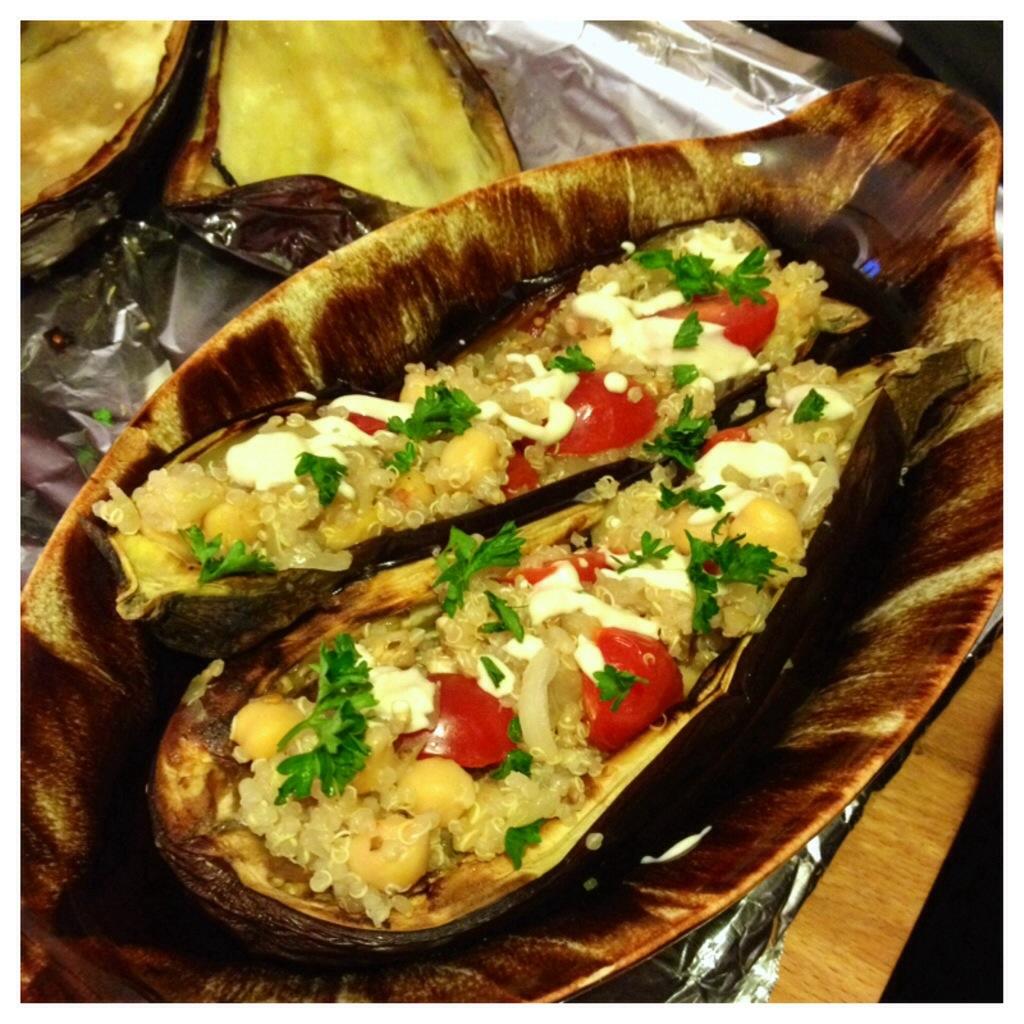 Stuffed Eggplant with Quinoa, Chickpeas, Tomato, and Tahini Sauce ...